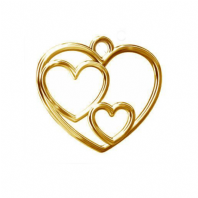 Sterling Silver Triple Heart Charm 24K Gold Plated
